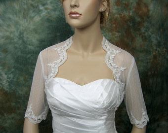 Ivory elbow length sleeve dot lace bolero bridal shrug bridal bolero bridal jacket wedding bolero wedding jacket wedding shrug