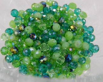 200 Glass Rondelle Faceted 6 x 4 mm crystal glass mix color green emerald lime green 6 mm glass beads
