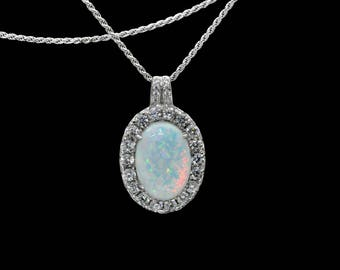 Fire Opal 14X10mm Necklace With White Sapphire Accents .925 Sterling Silver