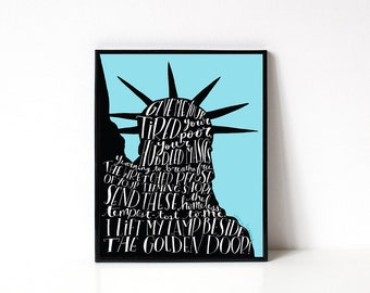 Statue of Liberty Quote 8x10 Art Print - No Ban No Wall - Human Rights - Equality - Resist - Protest - Refugees Welcome - ACLU Donation