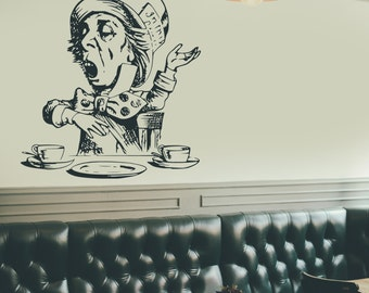 Wall Decal, Mad Hatter, Alice's Adventures In Wonderland, Alice, Tea Party, Mad Hatter Decal, Mad Hatter Sticker, Tea Party Decal