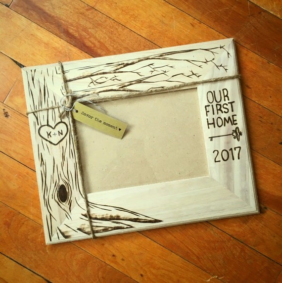 New Home wood burned frame 5x7 custom housewarming gift