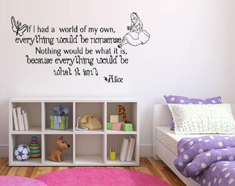 Wall Sticker Decals Alice In Wonderland Cartoon Rabbit Tea Time Cheshire Cat Girl Nursery Bedroom 1365b