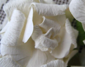 Paper Flowers 6 Large Millinery Shabby White Roses
