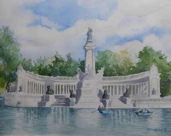 Madrid, Spain - Original Watercolor Ratiro Park Lake and Monument