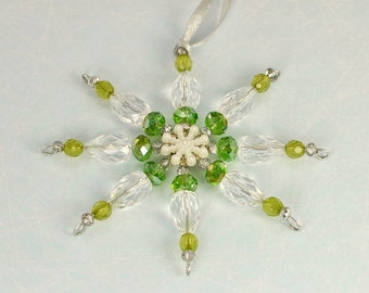 Beaded snowflake, Christmas decoration, Christmas ornament, Xmas tree decoration, beaded Christmas decoration