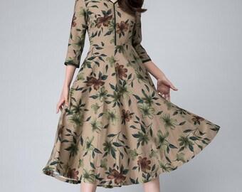 Floral midi dress, woman Linen dress,  V neckline Dress, 3/4 sleeves Dress,spring floral dress - New  Custom made, Tea length dress 1491