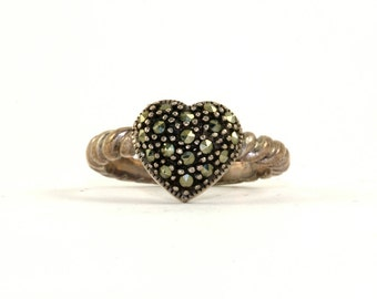 Vintage Heart Shape Marcasite Inlay Ring 925 Sterling Silver RG 2394