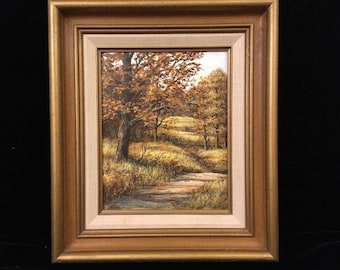Vintage Figural Landscape Painting Signed Richard Collopy Framed