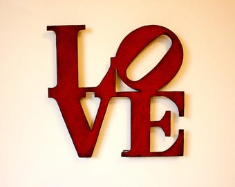 "Love wall art metal sign - 8"" x 8"" - love metal wall hanging - red with rust accents patina - love sign art - choose color"