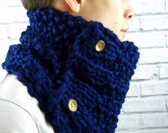 READY TO SHIP Men's Hand Knitted Cowl Scarf - Navy Blue, vegan friendly, men's scarf, men's snood