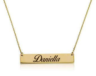 SOLID 14K GOLD Necklace Sparkle name /w FREE words engraving