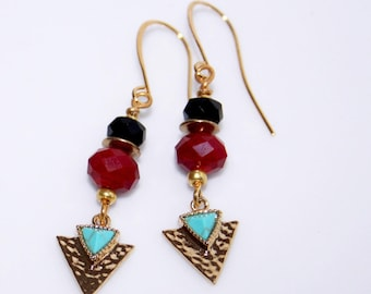 Brass Turquoise and glass earrings