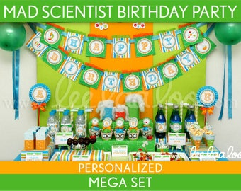 Mad Scientist Birthday Party Package Collection Set Mega Personalized Printable // Mad Scientist - B43Pz2