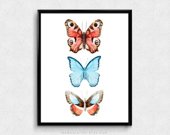 SALE -  Butterflies, Watercolor Butterfly, Vintage Decor, Butterfly Set, Animal Illustration, Insect Print, Children Poster, Coral Blue