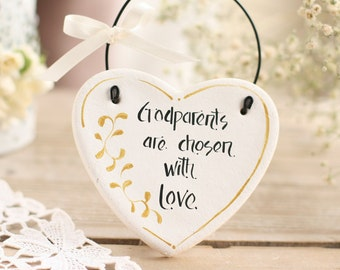 Personalized Godparents gift salt dough heart hanging ornament, Personalised Godparents, Thank you godparents gift, Personalised white heart