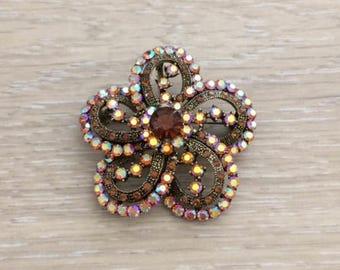 Rhinestone Brooch, Flower Brooch, Bridal Brooch, Brown