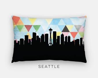Seattle skyline pillow | Seattle pillow | Seattle Washington pillow | geometric home decor | geometric pillow | geometric Seattle skyline