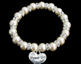 Flower Girl Bracelet,Kids Stretchable bracelet,Flower Girl Jewelry,Child Jewelry,Flower Girl Gift,Little Girls Jewelry, Free Shipping In USA