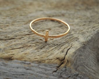 Cross Ring - Rustic - Gold Filled - Rose or Yellow Gold - Made to Order