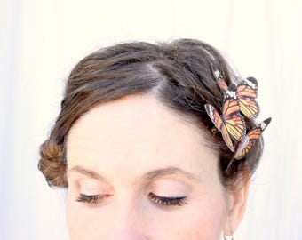 3 orange monarch silk butterfly hair clips . the long journey . realistic gift birthday girl, wedding, prom, autumn, fall, nature, woodland
