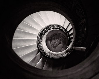 Versailles France,  Black and White France, Versailles Stairway, Spiral Staircase, Art Print, French Photography, Classic Film Camera
