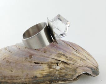 Glass Cube Ring - Stainless Steel Ring - Statement Ring - Gift for Women - Mother's Day Gift - Space Age Ring - Party Ring - Vintage Ring