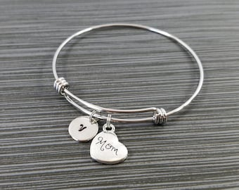 Mom Bangle - Mom Bracelet - Expandable Bangle - Mom Charm Bracelet - Initial Bracelet - Mom Gift - Mother Bracelet - Gift for Mom