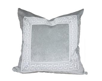 Grey Designer Velvet Pillow Cover Grey White Greek key ribbon trim All Size Available neutral