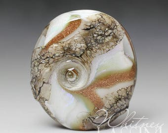 Abstract Design Dichroic Glass Lampwork Focal Bead by Whitney Lassini
