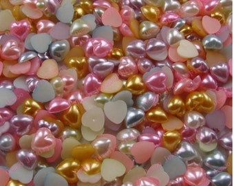 SALE 40% off - Pearlized Heart Shape Flatback Resin Cabochon Embellishments, Cell Phone, Decoden Kawaii 14mm,