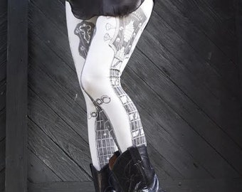 final few Clearance - Pearl Guitar Legging by Carousel Ink - IVORY