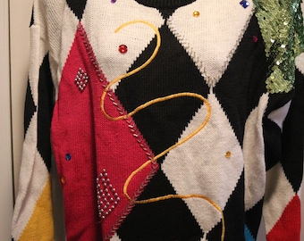 80's Vintage Funky Party Multi-color Sweater Michelle Stuart STUDIO