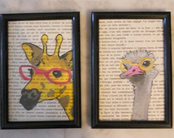 Four small frames with book pages and goggles