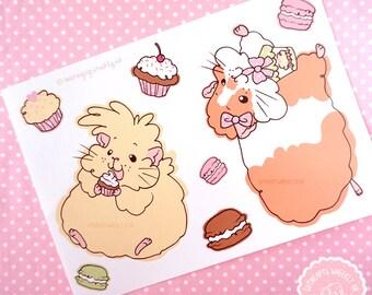 Cupcake Guinea Pig Sticker, Guinea Pig Decal, Guinea Pig Stickers,