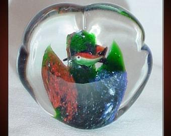 Art Glass Vintage Paperweight Encased Ocean Tropical Fish
