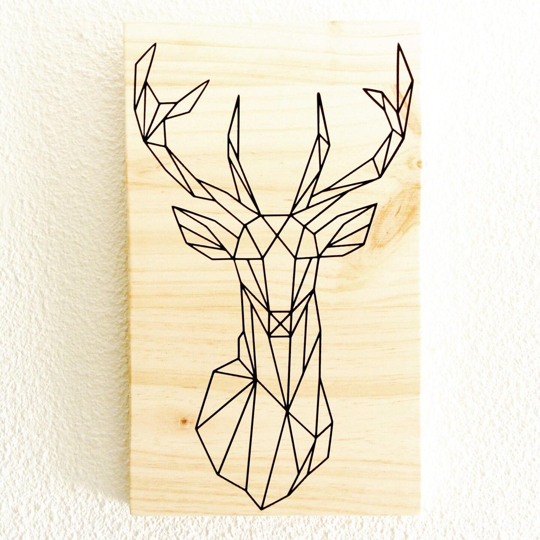 tableau t te de cerf fa on origami sur panneau en bois brut. Black Bedroom Furniture Sets. Home Design Ideas