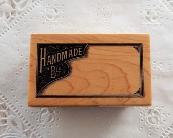 Handmade By Rubber Stamp Inkadinkado Crafter Tag Label