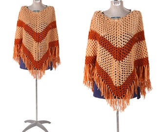 1970s Light Tan and Rust Red Brown Two Tone Fringe Sweater Poncho