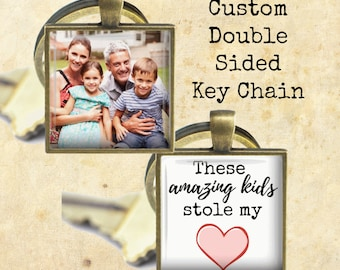 Father's Day Key Chain - Custom Double Sided Photo Key Chain - These Amazing Kids Stole My Heart, These Girls Stole My Heart