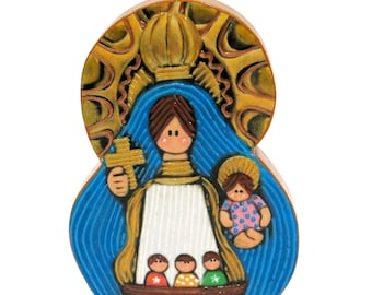 Our Lady of Charity - Virgen de la Caridad del Cobre - Small hand painted MDF ornament. Baptism, First Communion, Catholic Gifts.