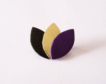 Black leather, gold and purple petals brooch