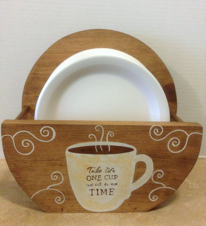 Paper Plate Holder Coffee Decor Coffee Theme Bistro Theme Coffee Kitchen Decor Wooden Plate Holder Coffee Lover Coffee Gift Coffee & Paper Plate Holder Coffee Decor Coffee Theme Bistro Theme Coffee ...