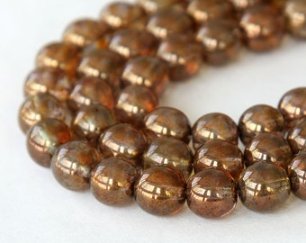 Transparent Gold Smoked Topaz Luster Czech Glass Beads, 8mm Round - 25 pcs - e15695-8r