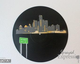 Detroit Skyline Vinyl Record Painting