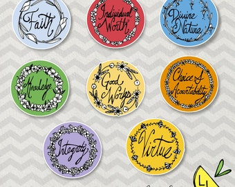LDS Art, Young Women Values, Badge set, Minimalistic, Printable Art, Hand drawn,YW Values,LDS Young Women,Printable Handouts, lds handouts,