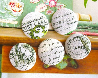 """Handmade Large Retro Postal Off White Airmail French Script Fabric Covered Buttons Fridge Magnets, 1.25 """" 5's"""