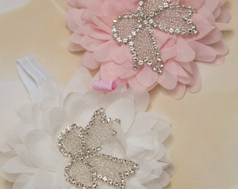 Large Pink or Off White  Chiffon Infant Toddler Headband with rhinestone Bow