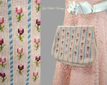 40s Needlepoint Handbag Vintage Dusty Rose Purse ~ Christine Custom Bags
