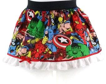 GIRL Super Hero Girl's Skirt, Marvel Comic Skirt with Lace, Marvel Girl's Skirt, Marvel Party Skirt